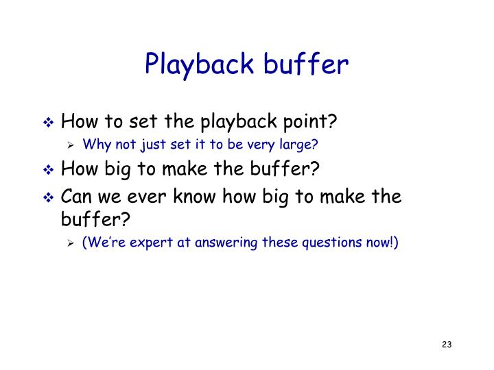 Playback buffer