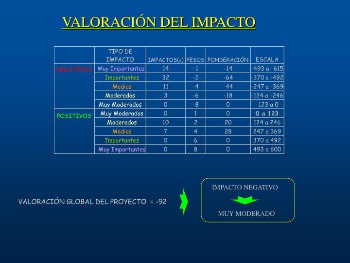 VALORACIÓN DEL IMPACTO