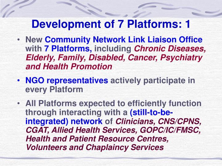 Development of 7 Platforms: 1