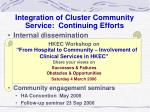 integration of cluster community service continuing efforts