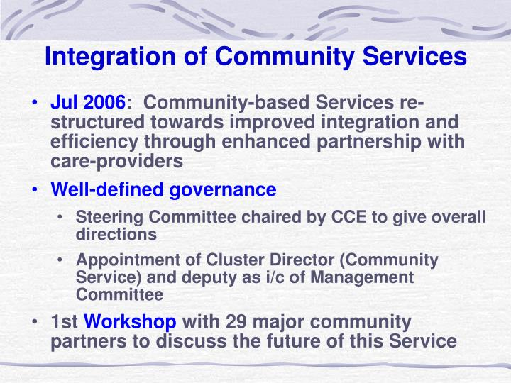 Integration of Community Services