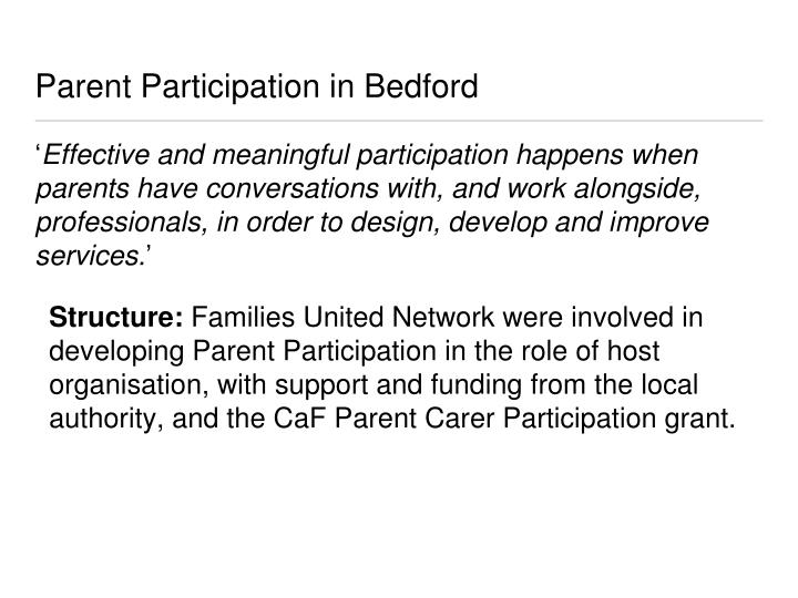Parent Participation in Bedford