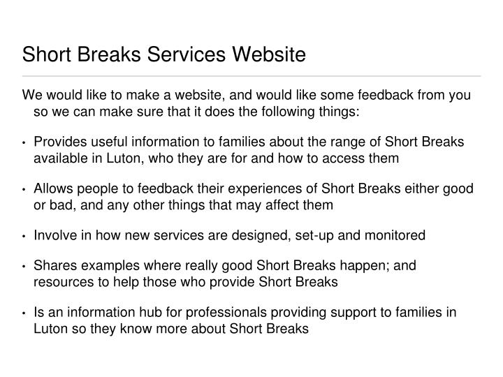 Short Breaks Services Website