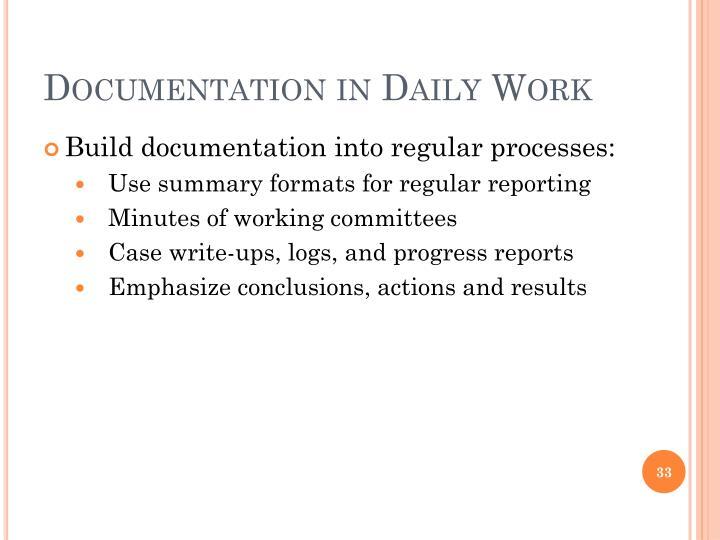 Documentation in Daily Work