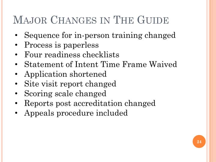 Major Changes in The Guide