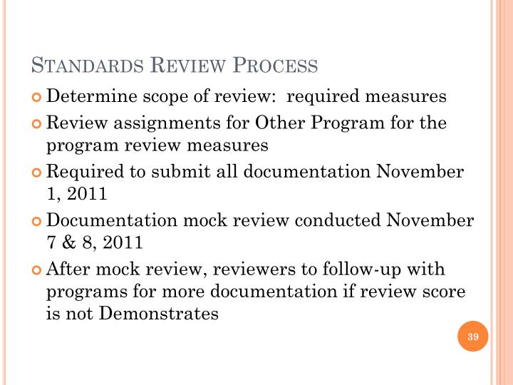 Standards Review Process