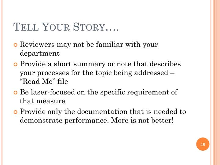 Tell Your Story….