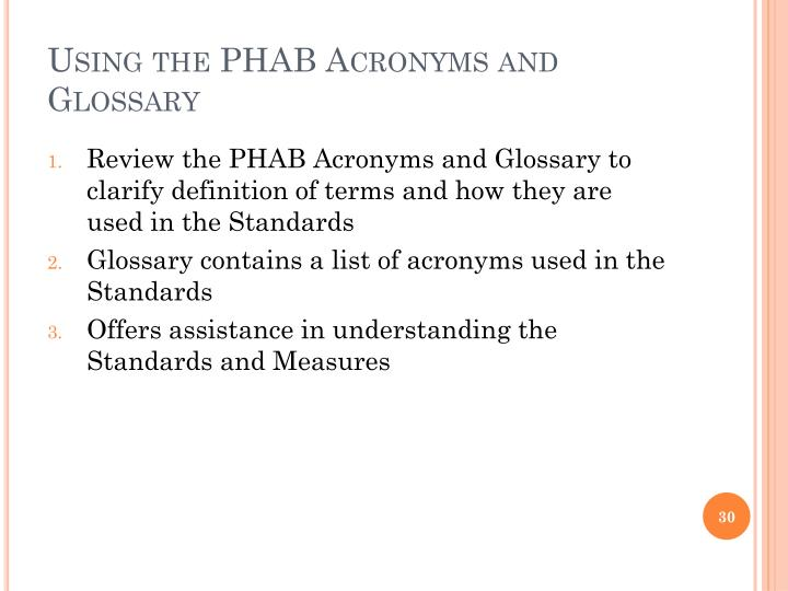 Using the PHAB Acronyms and Glossary
