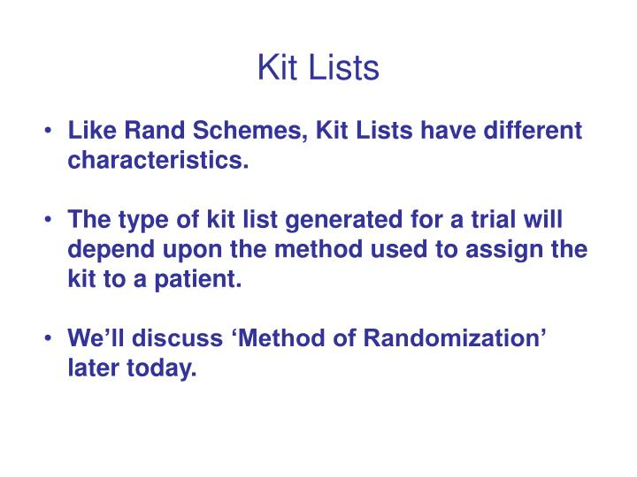 Kit Lists