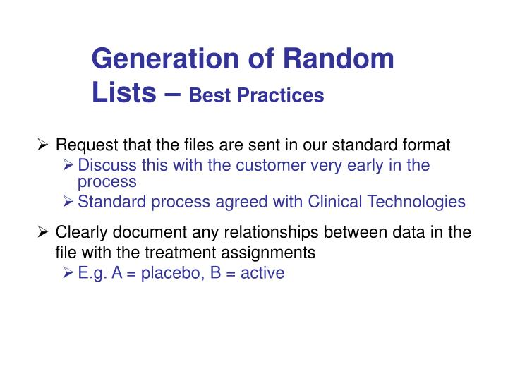 Generation of Random Lists –