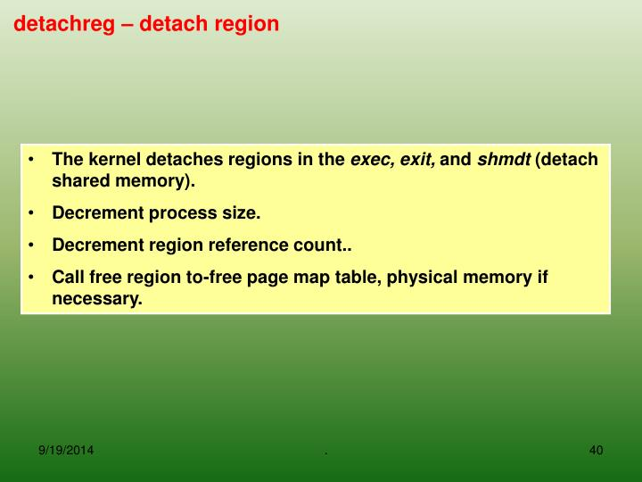 The kernel detaches regions in the