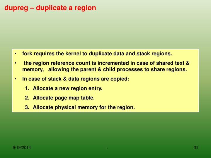 dupreg – duplicate a region