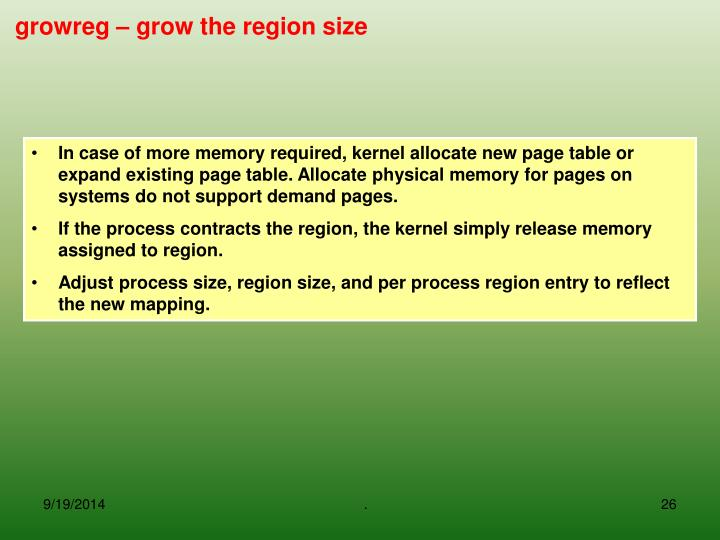 In case of more memory required, kernel allocate new page table or expand existing page table. Allocate physical memory for pages on systems do not support demand pages.