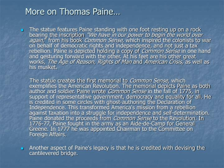 More on Thomas Paine…