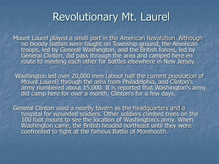 Revolutionary Mt. Laurel