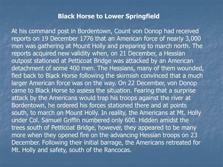 Black Horse to Lower Springfield