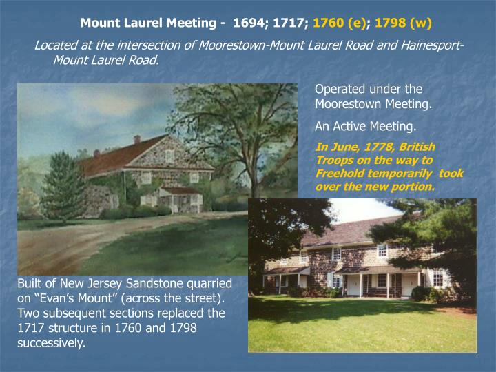 Mount Laurel Meeting -  1694; 1717;