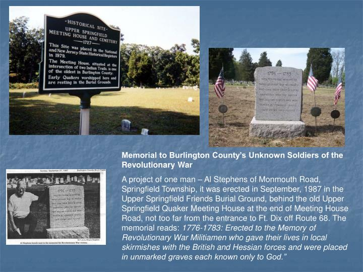 Memorial to Burlington County's Unknown Soldiers of the Revolutionary War