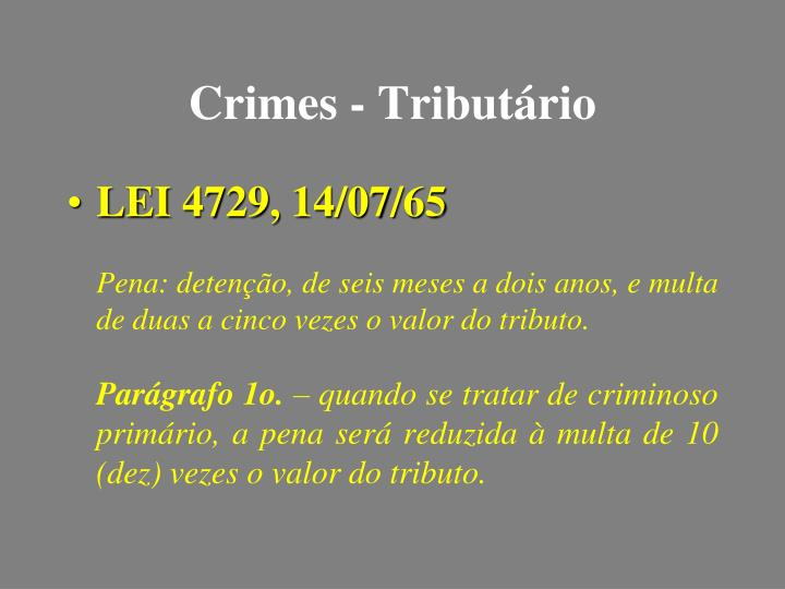 Crimes - Tributário