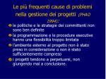 le pi frequenti cause di problemi nella gestione dei progetti phao 19942