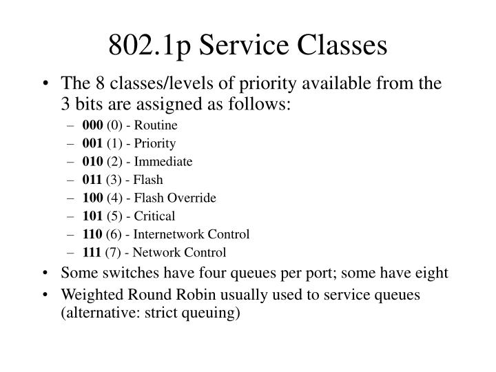 802.1p Service Classes