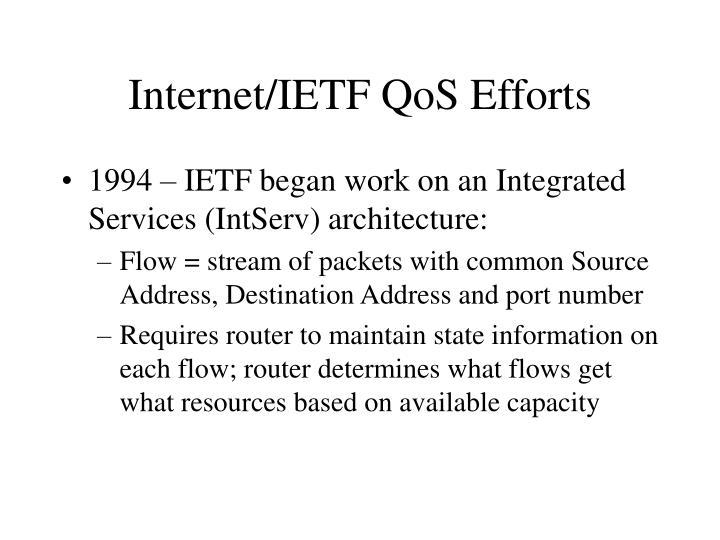 Internet/IETF QoS Efforts