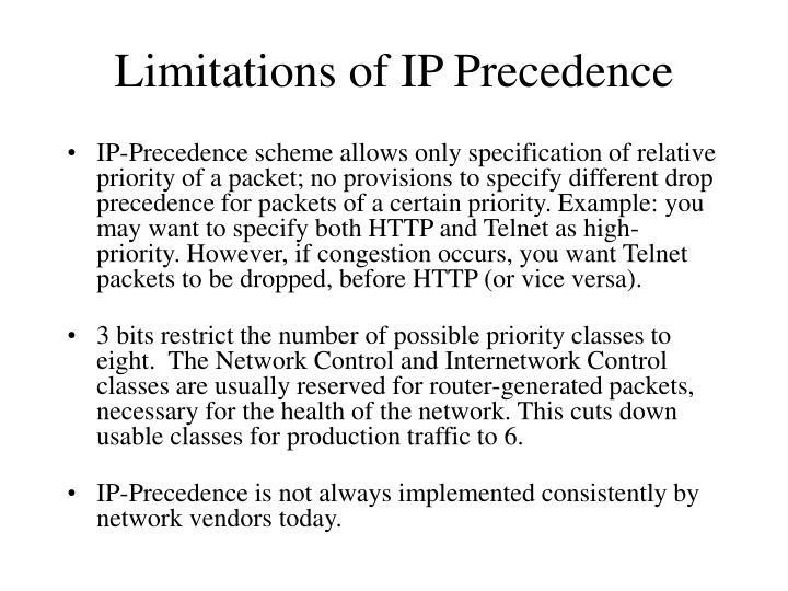 Limitations of IP Precedence