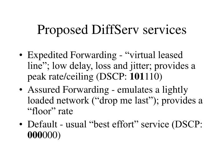 Proposed DiffServ services