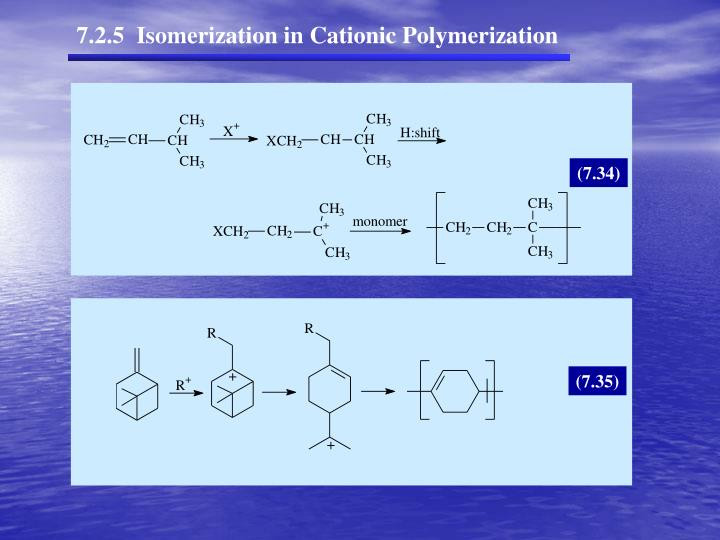 7.2.5  Isomerization in Cationic Polymerization