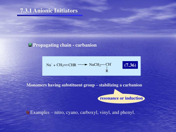 7.3.1 Anionic Initiators