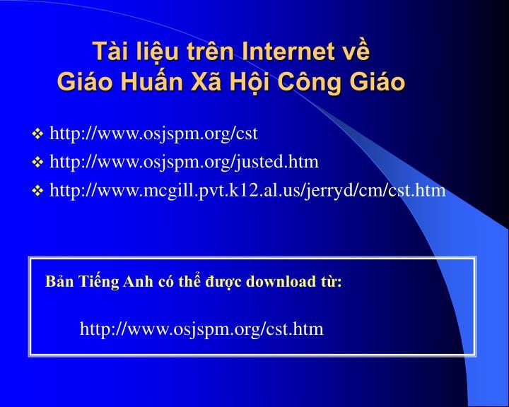 Tài liệu trên Internet về