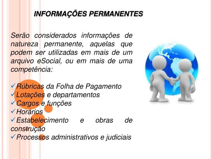 INFORMAÇÕES PERMANENTES
