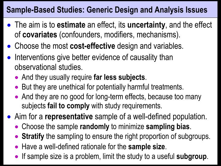 Sample-Based Studies: Generic Design and Analysis Issues