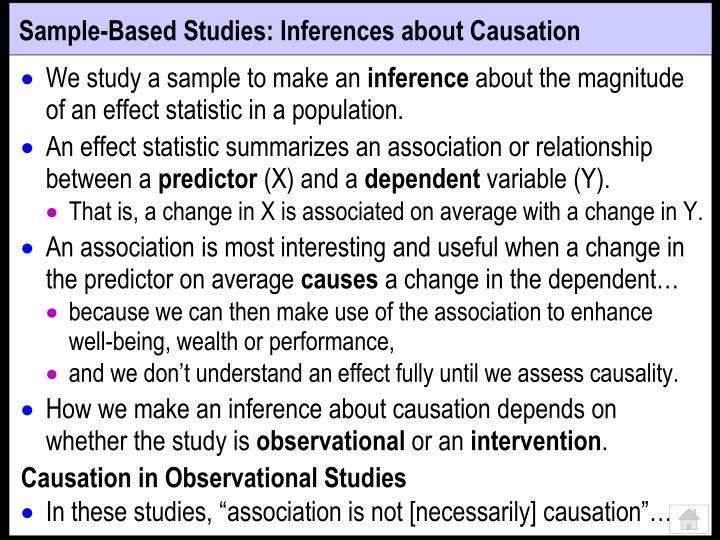Sample-Based Studies: Inferences about Causation