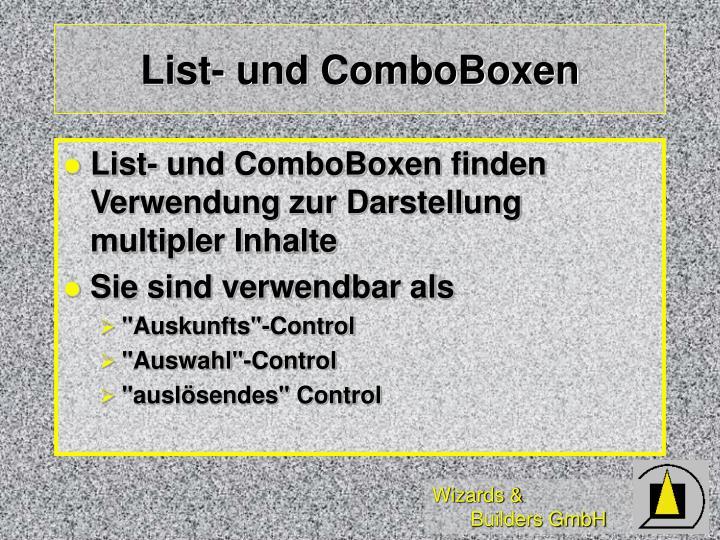 List- und ComboBoxen