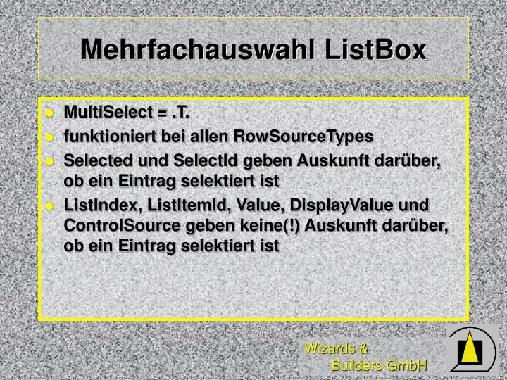 Mehrfachauswahl ListBox