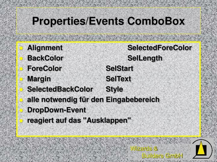 Properties/Events ComboBox