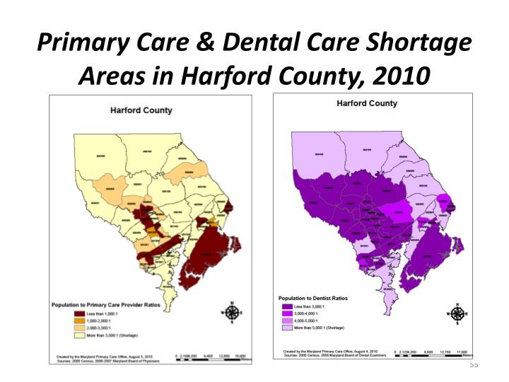 Primary Care & Dental Care Shortage Areas in Harford County, 2010