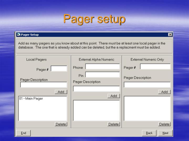 Pager setup