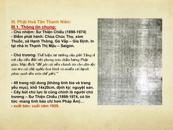 III. Phật Hoá Tân Thanh Niên: