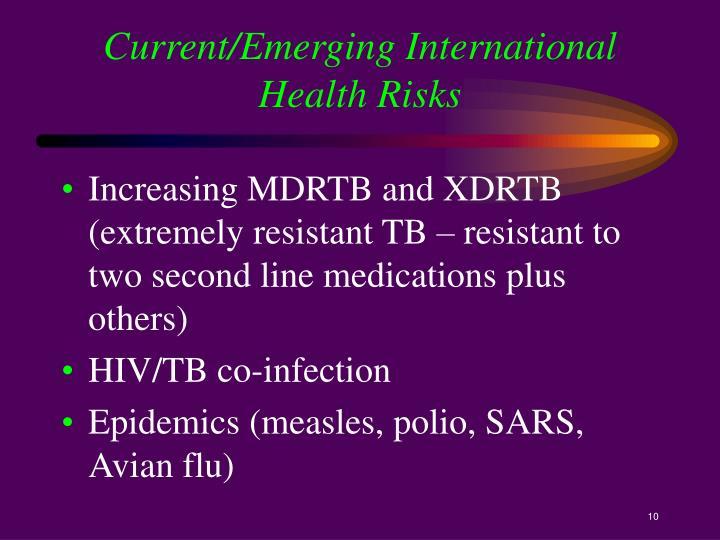 Current/Emerging International Health Risks