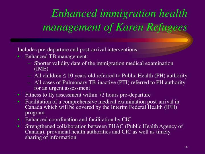 Enhanced immigration health management of Karen Refugees