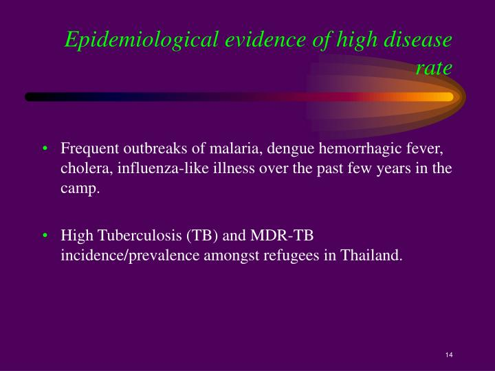 Epidemiological evidence of high disease rate