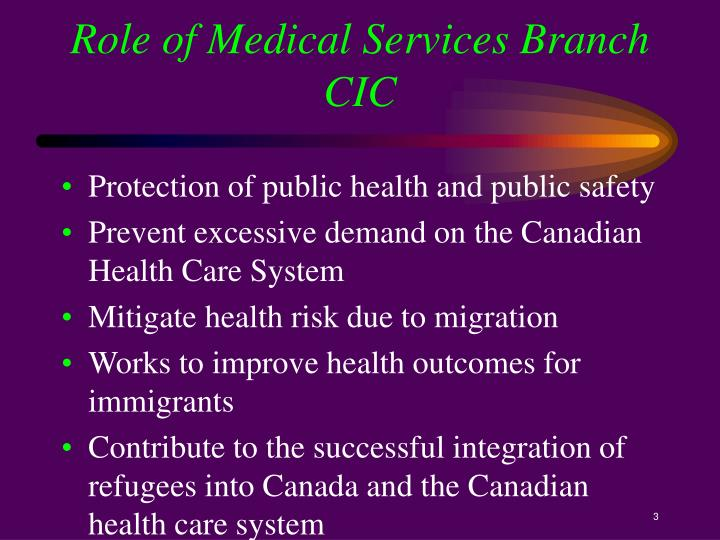 Role of Medical Services Branch