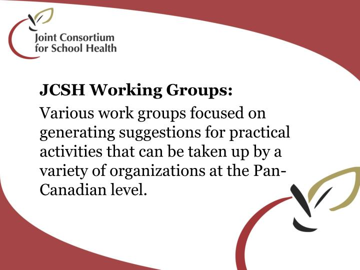 JCSH Working Groups: