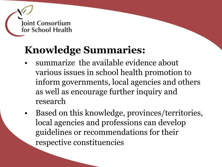 Knowledge Summaries: