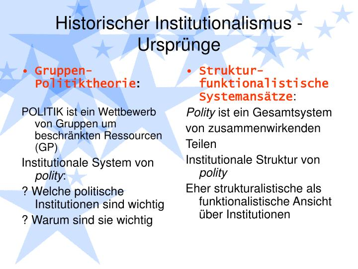 Historischer institutionalismus urspr nge