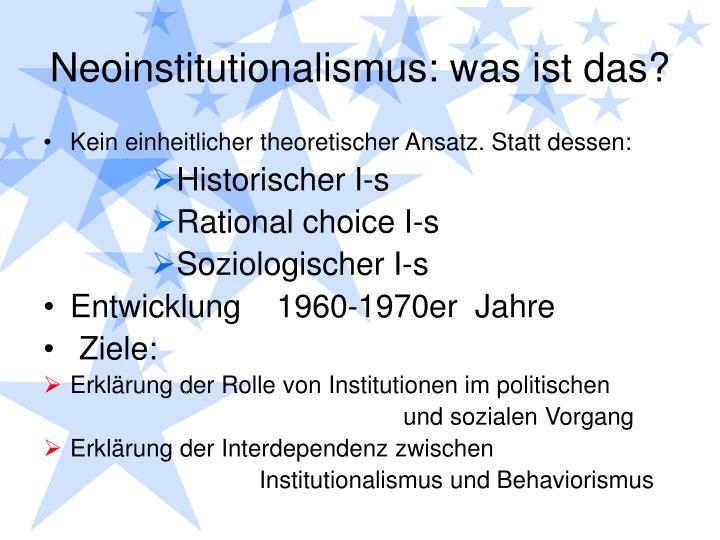 Neoinstitutionalismus: was ist das?