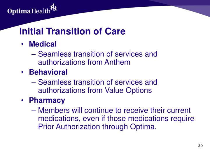 Initial Transition of Care