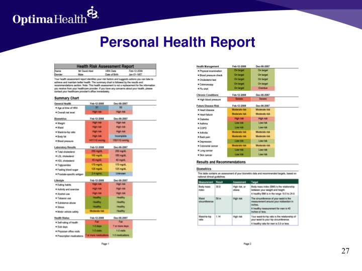 Personal Health Report